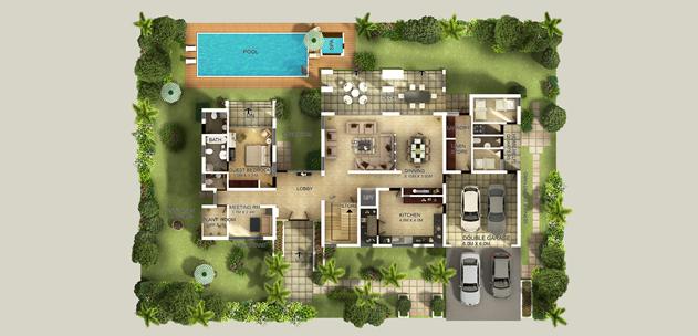 Floor plan renderings gurus floor for Rendered floor plan